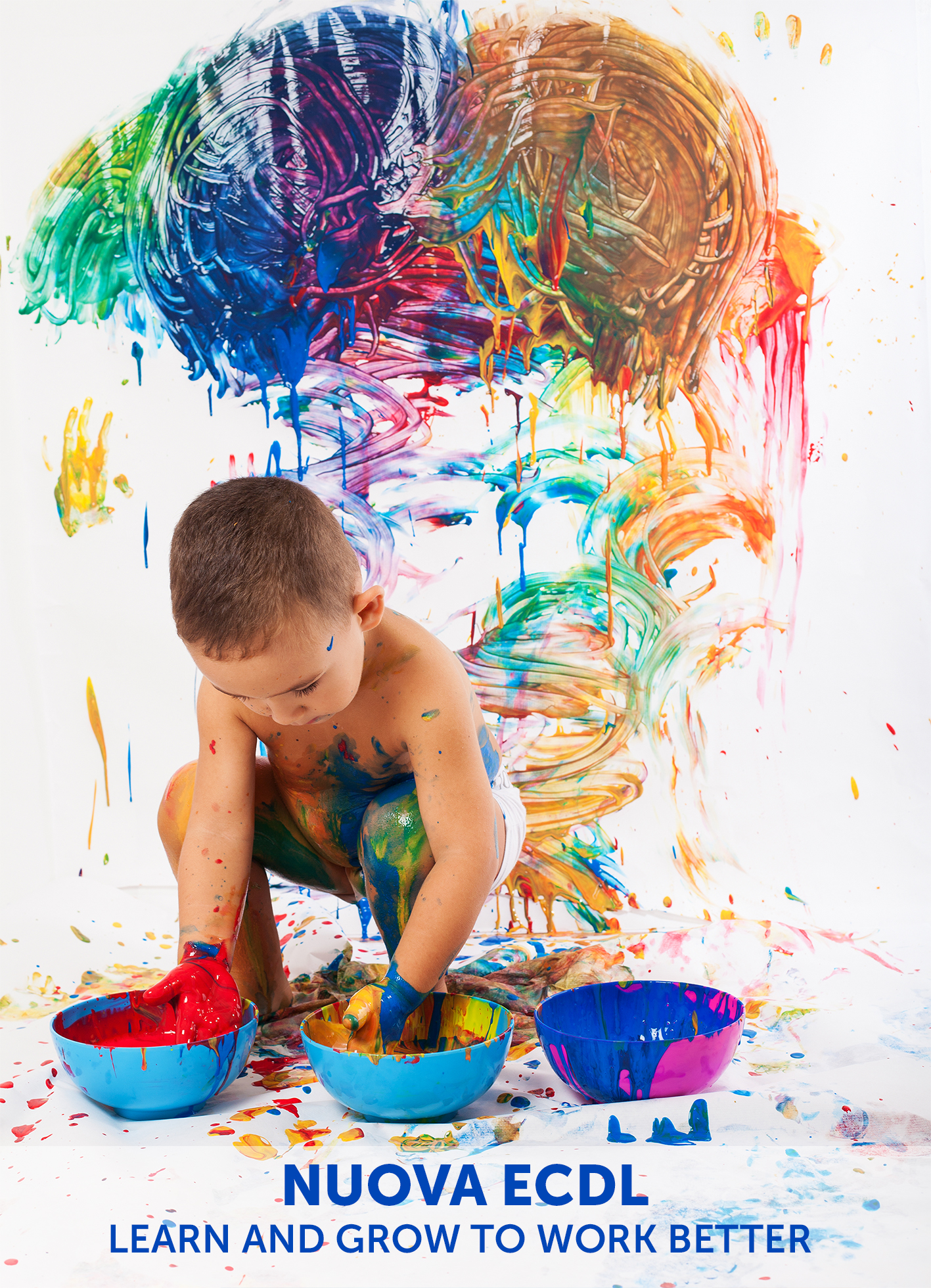adorable kid paint stained representing the creativity and the freedom